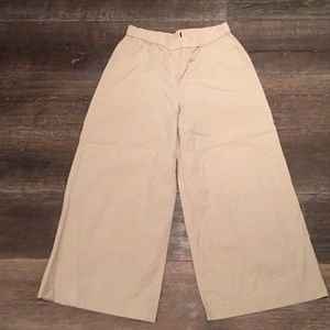 Khaki wide leg cotton pants